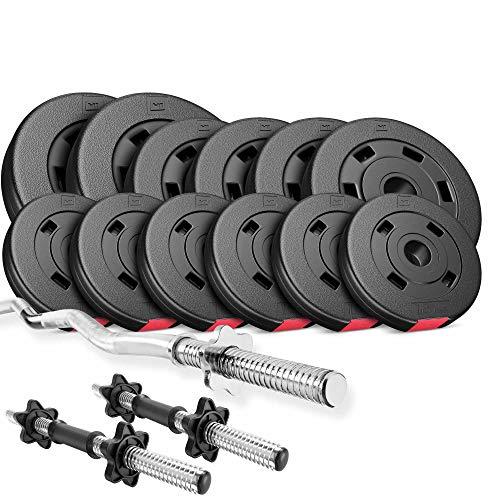 Hop-Sport Hantelset 36 kg, 1x SZ Stange, 2X Kurzhanteln, Hantelscheiben 2x5kg/4x2,5kg/6x1,25kg