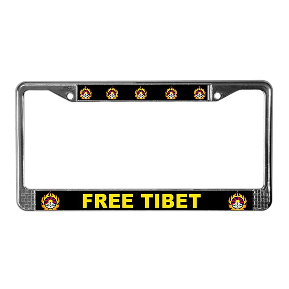 CafePress Flame Free Tibet License Plate Frame Chrome License Plate Frame, License Tag Holder