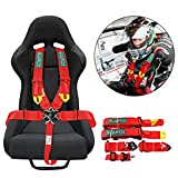 DING.PAI Seat Bealt 5-Point Racing Safety Harness with Ultra Comfort Heavy Duty Shoulder Pads Universal Polyester Safety Harness fit Sports Car Racing Car UTV ATV Car Red…