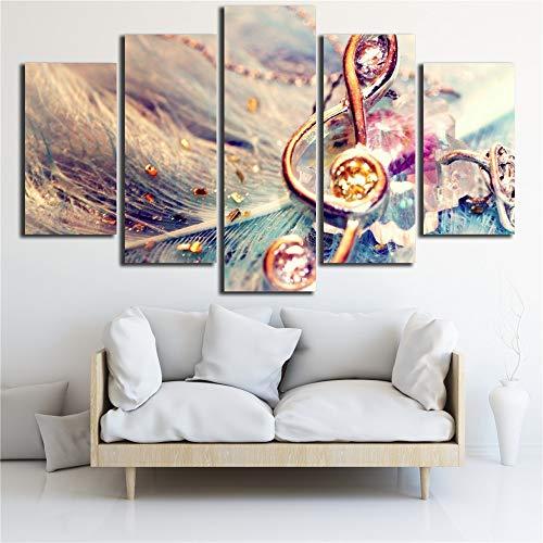 WMWSH Wohnkultur Wandkunst Bilder Musiknote Hd Gedruckt 5 Panel Malerei Modulare Moderne Leinwand Schlafzimmer Büro Wohnung Poster Wanddekoration Wandbilder