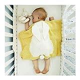 LH Stereo Kaninchen Ohr Baby Swaddle Decke Kinder Gestrickte Decke Gobelin Teppich Trolley Decke, Nickerchen Nach Hause Reisen Vier Jahreszeiten 73 * 108 cm,Yellow