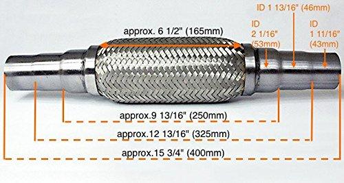 Universal Flamm- Hosen- Stück- Hosen- Flexrohr 45x48x55mm 400mm