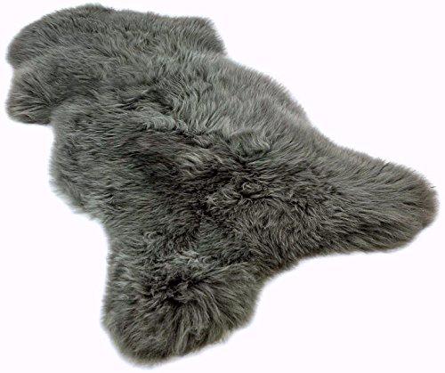 Zaloop Lammfell Schaffell grau ökologisch gegerbt 90-100 cm echtes Fell