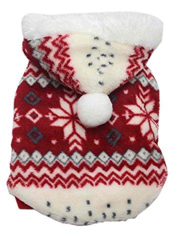 SAMGU Hundekleidung Warm Weihnachten Hundepullover Kapuzenpullover Rot XS