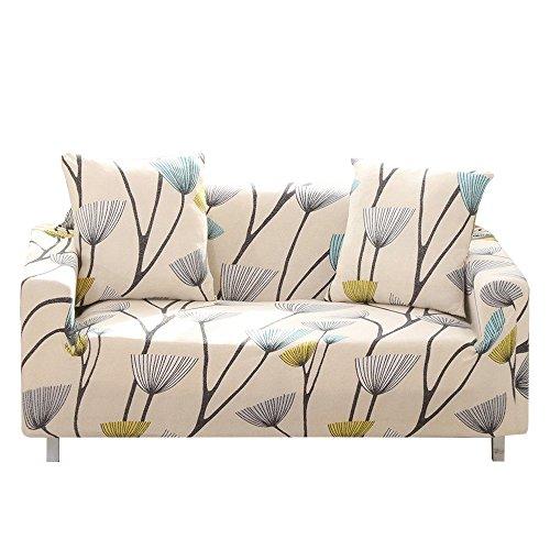 Carvapet Elastischer Sofabezug Sofahusse Gedrucktes Muster Couchbezug Sofa Couch Überwürf (Löwenzahn, 2 Sitzer 135-170cm)