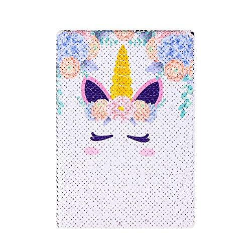 Dorisdoll - Cuaderno de lentejuelas tamaño A5 con diseño de unicornio y sirena, reversible, con purpurina, color Unicornio blanco A5 Size