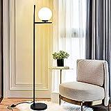 Depuley - Lámpara de pie LED de color negro E27, luz blanca cálida, lámpara de pie moderna para salón con bola de cristal blanco e interruptor de pie, protección de ojos de 3000 K, comedor, hotel