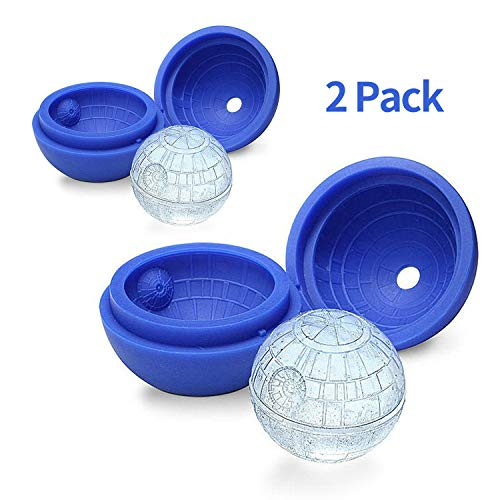 3D Death Star Wars Silicone Ice Cube Mould Chocolate Mould Round Ice Cube Tray for Whiskey, Cocktail, Water, Reusable and Dishwasher Safe(Pack of 2)