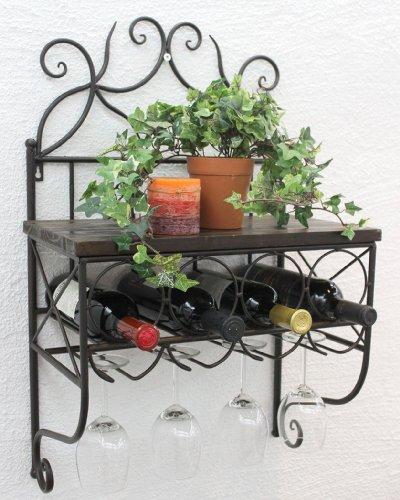 DanDiBo Weinregal Metall Wand mit Glashalter Braun Flaschenregal Wandregal HX12982 Flaschenständer 71 cm Flaschenhalter Regal