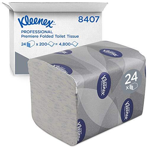 Kleenex 8407 Premier Carta igienica Piegata, 24 Confezioni x 200 Fogli a 2 Veli, Colore Bianco