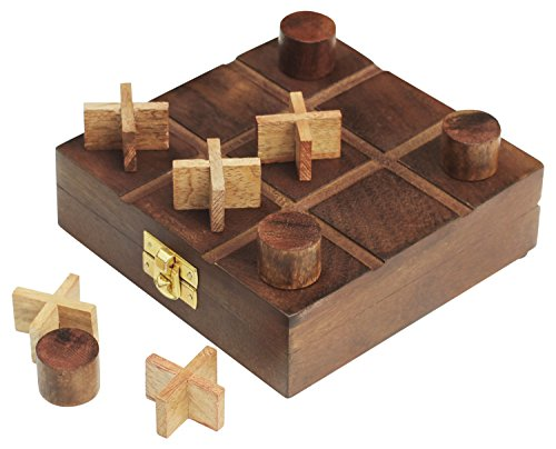 """Deals for Today - SouvNear 5.5"""" Wooden Tic Tac Toe with Storage Travel Box Set - Handmade Wood Quality Family Board Game - Gifts for Kids"""