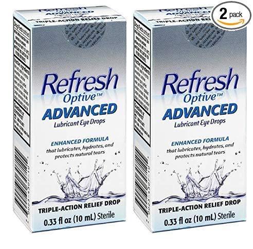 Refresh Optive Advanced Lubricant Eye Drops, 0.33 Fl Oz (2 Count) (10mL) Sterile, Value-Size