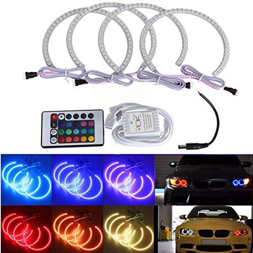 MuChangZi 1 Juego 4 * 131MM Multi-Color LED Angel Eyes 5050 RGB Flash Faros para BMW E46