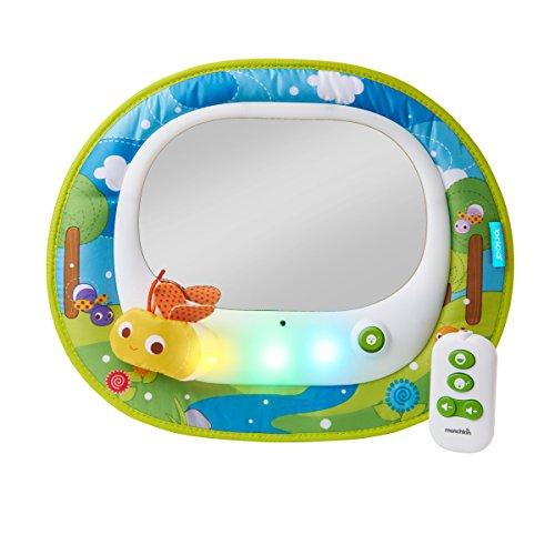 Brica by Munchkin Espejo de coche Baby In-Sight Luciérnagas, 4 melodías para entretener y 4 melodías relajantes, sincronizadas con espectáculo de luciérnagas y luces LED luciérnaga