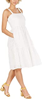 Vince Camuto Womens Sleeveless Eyelet Sundress (Ivory, 10)