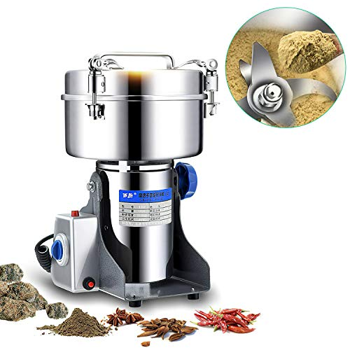 MaquiGra Electric Cereal Mill Stainless Steel High Speed Powerful Motor Corn Grinder Grain Pepper Wheat Spices Dried Fruits Seeds Home UseCommercial 1000g