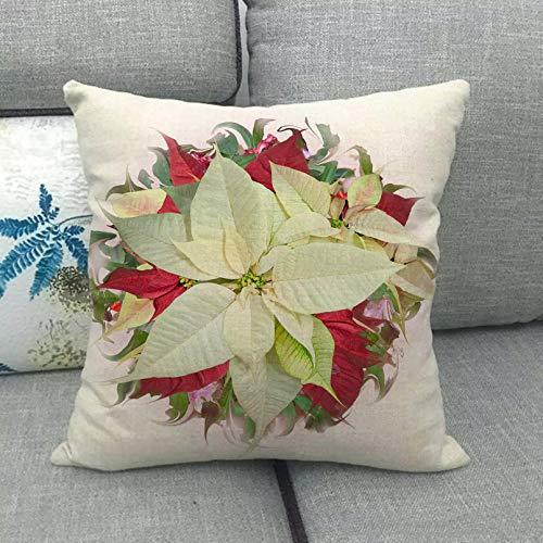 Funda Cojine 45 cm * 45 cm diseño de Guirnalda roja Funda de cojín de Lino algodón Funda de Almohada para sofá Funda de Almohada Decorativa Cubierta cojín sofá Coche Funda Almohada Decor casera