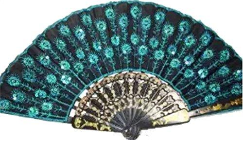 Nigoz - Abanico de mano plegable con diseño de pavo real, 1 pieza de tela de lentejuelas con decoración de danza para regalo de boda, nuevo lanzado y popular práctico y rentable