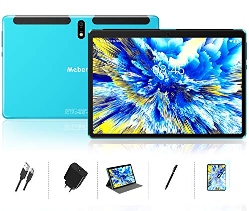 Tablet 10 Zoll Android 10 OS, MEBERRY Octa Core 1,6 GHz Ultraschneller Tablet-PC: 4 GB RAM 64 GB ROM, 1280 x 800 HD IPS, 8000 mAh, WLAN, Bluetooth, GPS, Doppelkamera (5 MP + 8 MP) - Blau