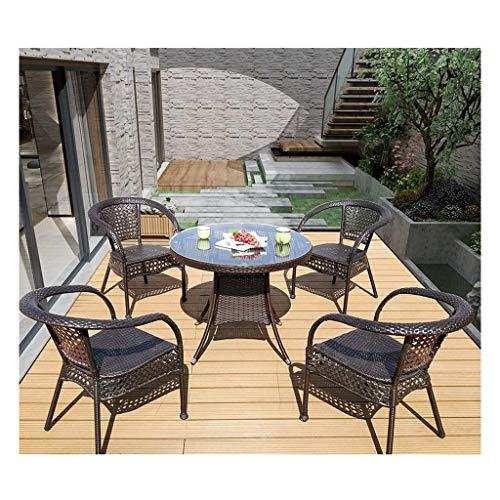 BDBT Rattan Muebles de jardín al Aire Libre Mesa y sillas Conversación Conjunto de Cristal Mesa de Centro de jardín al Aire Libre Junto a la Piscina
