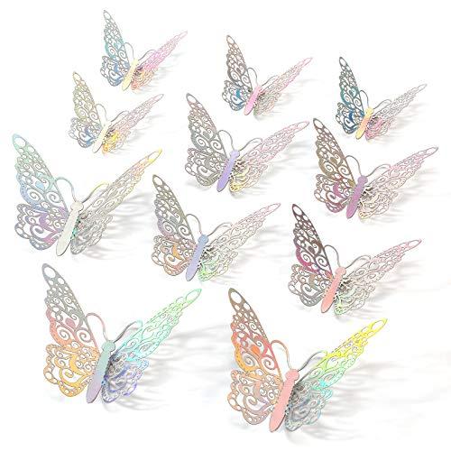 Rotumaty 3D pegatinas de pared de mariposa, 36 piezas de pegatinas de pared de mariposa para decoración de habitación de niños, dormitorio, fiesta, boda, decoración del hogar (plata)