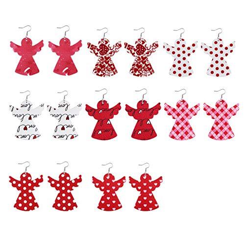 Ruby569y Pendientes colgantes para mujeres y niñas, 8 pares de pendientes de gancho de piel sintética con forma de corazón y gota de agua, regalo – Angel*