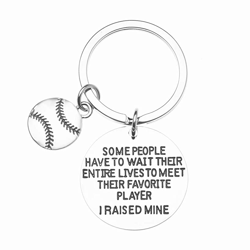 Sportybella Baseball Mom or Dad Keychain- Some People Have to Wait Their Entire Lives to Meet Their Favorite Player, I Raised Mine. Gift for Gift for Baseball Mom or Dad