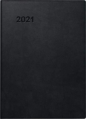 Brunnen 1073411901 Taschenkalender Modell 734, 1 Seite = 2 Tage, 10 x 14 cm, Kunststoff-Einband schwarz, Kalendarium 2021