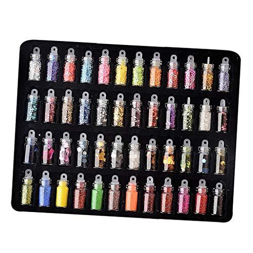 Toygogo 48 Boîtes de Nail Art Strass pour Décor Ongles Artisanats Maquillages des Yeux Vêtement Chaussure
