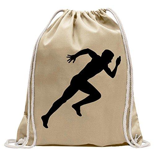 Kiwistar Runner Marathon Sprint Fun Mochila Deporte Bolsa de Remise en Forma Gymbag Shopping Algodón con Cordón, Tela, Natural, 37 x 46cm