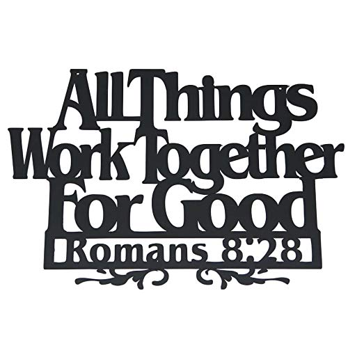 Inspirational Word Art, Christian Faith Biblical Verse Wall Sign, Hand-Made Wooden Decoration Plaque for Home, Office, Church (All Things for Good)