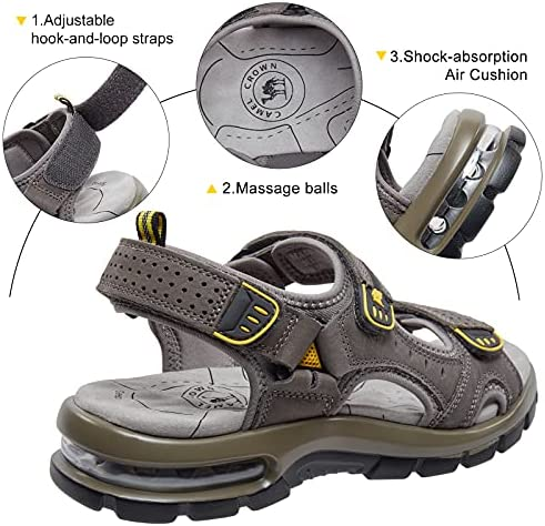 CAMEL CROWN Men's Leather Sandals for Hiking Walking Beach Treads Water Athletic Outdoor with Premium Air Cushion   Waterproof