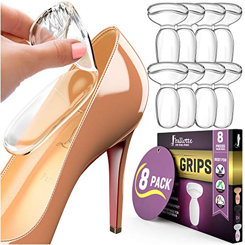 Premium Heel Cushion Inserts for Women Shoes, [8 Extra Soft] Clear Heel Grips - Gel Cushions Sticks Most Shoes, Reusable and Self-Adhesive Pads for Women or Men Loose Shoes, Add Extra Comfort