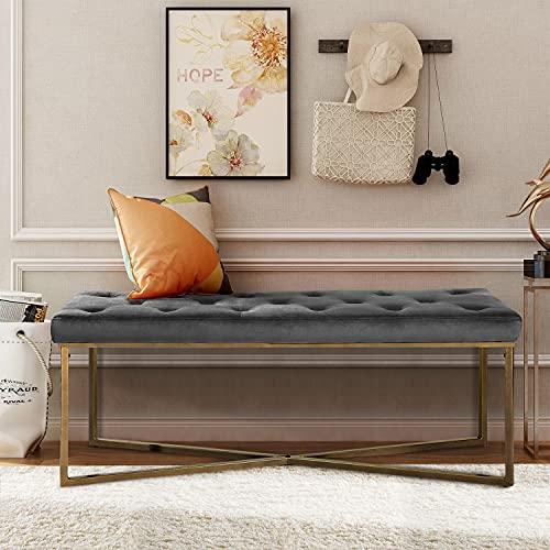 GOMYHOME - Taburete de pie de Piano con botón de Terciopelo, tapizado en Tela, Moderno, tapizado con Patas de Acero, para Sala de Estar, Dormitorio, Muebles Decorativos (Gris)