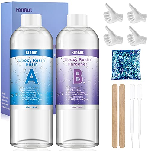 FanAut 18.5 Ounce Epoxy Resin Crystal Clear for Art, Crafts, Tumblers, Casting and Jewelry Making with 2 Droppers, 2 Sticks,2 Pair Gloves and 1 Pack of Resin Glitter