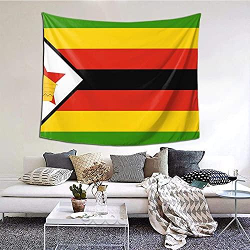 AOOEDM Mode Wandbehang Tapisserie, Simbabwe Flagge Tapisserie, Wandkunst Dekoration für Schlafzimmer Wohnzimmer Wohnheim, Decke Tagesdecke Strandtuch Fenster Vorhang Picknickmatte, 60x51 Zoll