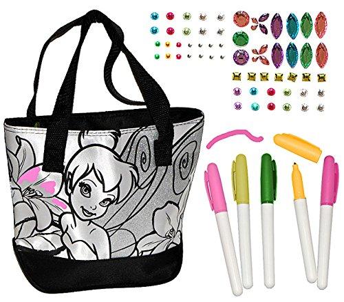 alles-meine.de GmbH Bastelset zum Bemalen für Umhängetasche / Schultertasche - Disney Tinkerbell - abwischbar groß - Kindertasche Tasche Stoff Mädchen Tragetasche Fairy Fairies