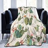 Manta de Felpa Suave Cama Lindo patrón de Cactus Manta Gruesa y Esponjosa Microfibra, Suave, Caliente, Transpirable para Hogar Sofá , Oficina, Viaje