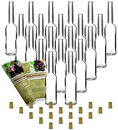 Set de 20 botellas de vidrio Opera vacías, con tapones de corcho para embotellar (100 ml)
