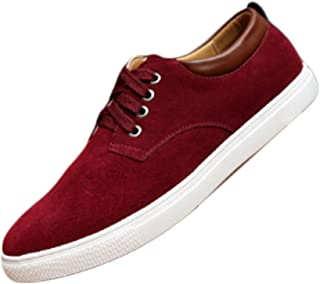 Inlefen Men's Sports Shoes Non-Slip Solid Color Lace-up Shoes Fashion Sneakers