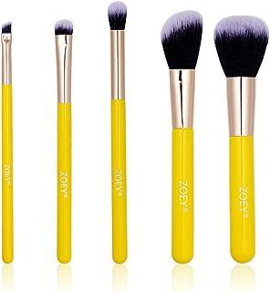 5 PCs Makeup Brush Set Professional Synthetic Brushes With Wooden Handles Kabuki Cosmetics Foundation Blending Blush Eyeliner Face Powder Brush Make up Brushes Kit(Yellow Color)