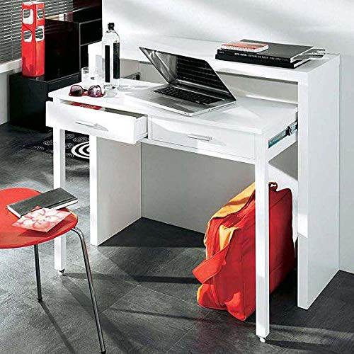 MDS La Console-bureau munie de deux tiroirs laquée blanc ou finition chêne, design Leonhard Pfeifer - Laqué Blanc 100 x 36 x 88 cm (l x p x h)
