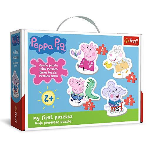 Trefl- Die reizende Wutz, Peppa Pig Von 3 bis 6 Teilen, 4 Sets, Baby Classic, für Kinder AB 2 Jahren Puzle, Color Coloreado (TR36086)