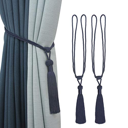 Porlau 2 Pack Handmade Curtain Tiebacks Rope Tassel Tie-Backs Holdbacks for Office Home Decorative Drapery Tiebacks- Navy