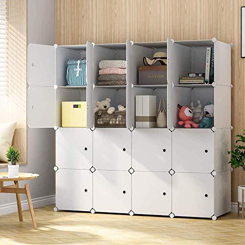 KOUSI Large Cube Storage -14x18 Depth Cube 16 Cubes Organizer Shelves Clothes Dresser Closet Storage Organizer Cabinet Shelving Bookshelf Toy Organizer White