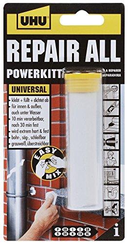 UHU REPAIR ALL POWERKITT, 2-Komponenten-Knetmasse, 60 g, Infokarte, 2er-Pack