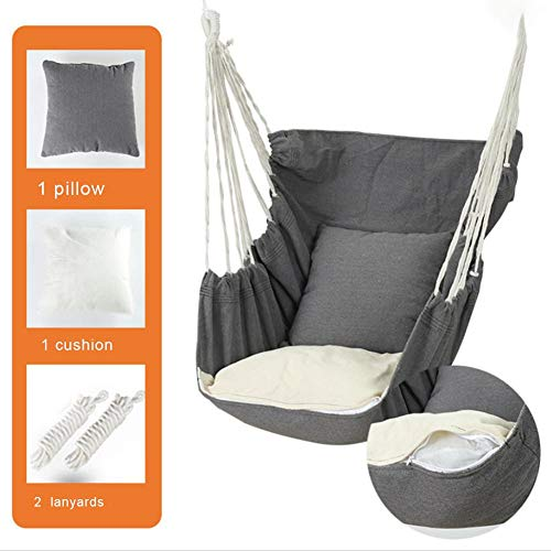 Hanging Swing Seat Outdoor Indoor Hammock Hanging Chair Bedroom Garden with Cushion Pillow and Tied Rope, White, Black, Gray, Pink, 130x100 cm