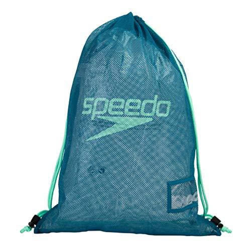 Speedo Borsa a Rete per Attrezzatura, Unisex-Adult, Nordic Teal/Nero/Green Glow, One Size