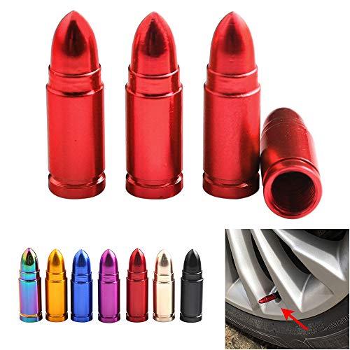 バルブキャップ,Funien 弾丸型アルミ合金バルブキャップ米国標準の赤いタイヤバルブダストキャップ車、バイ...