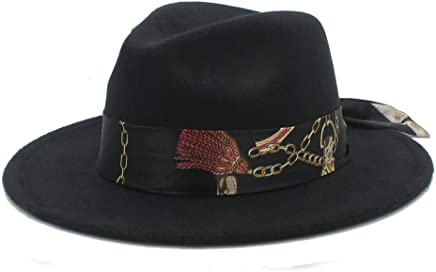 2019 Women Men Women Soft Hat, Ribbon Chain Print Fedora Hat Wool Blend Hat Outdoor Casual Hat Top Jazz Hat European American Hat Panama Hat (Color : Black, Size : 56-58CM)